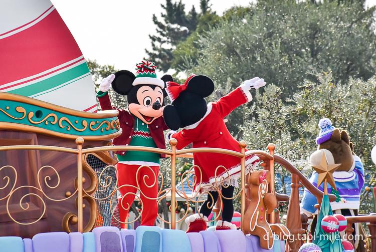 ディズニーランド クリスマスパレード ミッキー ミニー ダンス