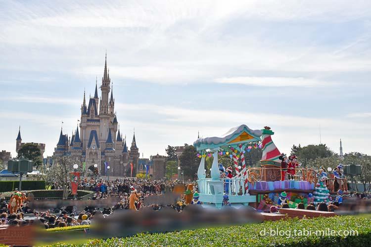ディズニーランド クリスマスパレード ミッキーミニー停止位置