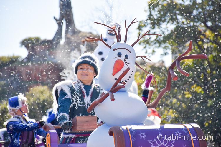 TDL フローズンファンタジーパレード ウェスタン ダンサー 雪だるま